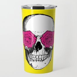 Skull and Roses   Skull and Flowers   Vintage Skull   Yellow and Pink   Travel Mug