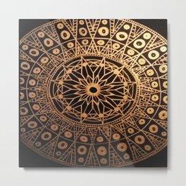 Black & Gold Mandala Metal Print