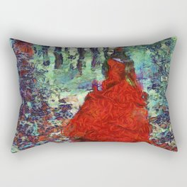 Lady in Red Rectangular Pillow