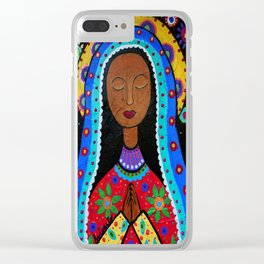 Mexican Folk Art Virgin Guadalupe Painting Clear iPhone Case