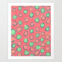 polka dot Art Prints featuring polka dot by Jenni Freidman