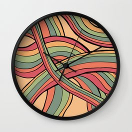 Rolling Waves Of Peachy Panic Wall Clock