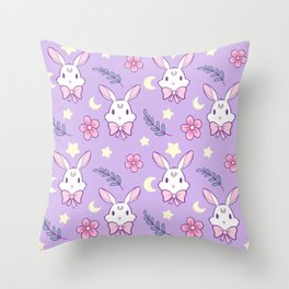 Sakura Bunny // Purple Throw Pillow