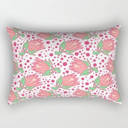 Soft Pink Australian Native Floral Print - King Protea Rectangular Pillow