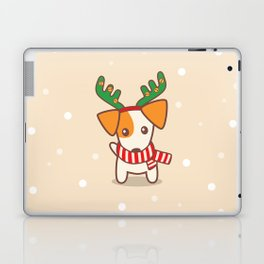 Jack Russell Terier with Reindeer Antlers on snowy background Illustration Laptop & iPad Skin