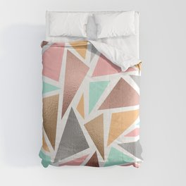 Modern Rose Gold Mint Metallic Triangles Geometric Comforters