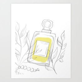 Perfume Bottle Colored Sketch Art Print