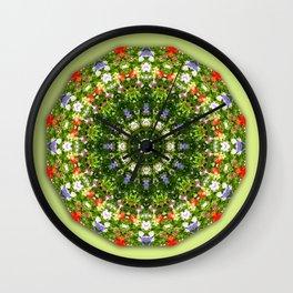 Wildflowers green, Floral mandala-style, Flower Mandala Wall Clock