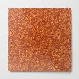Monstera Jungle Golden Leaves Marigold Yellow & Rust palette_vector drawing  Metal Print