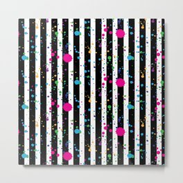 Stripes & Rainbow Splatter Metal Print
