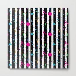 Stripes & Rainbow Splatter Metal Print