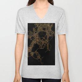 Black and gold Busan map Unisex V-Neck