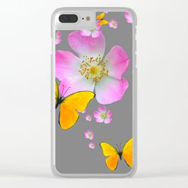 YELLOW BUTTERFLIES & PINK WILD ROSES Clear iPhone Case