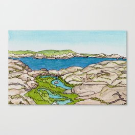 Peggy's Cove Watercolour Painting Backside Canvas Print