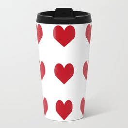 Hearts pattern red and white minimal modern essential valentines day gifts for anyone love Travel Mug