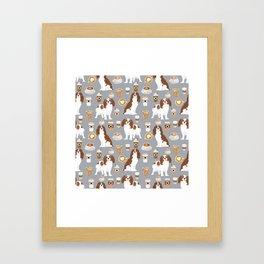 Cavalier King Charles Spaniel coffee lover custom pet portrait by pet friendly dog breeds Framed Art Print