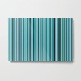 Old Skool Stripes - Teal - Extra Wide Metal Print