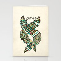 feathers Stationery Cards featuring Soulmate Feathers by Pom Graphic Design
