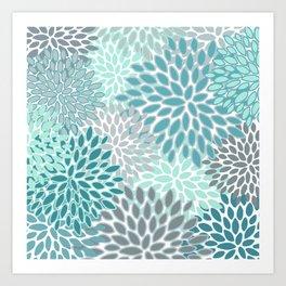 Festive, Modern, Floral Prints, Teal and Gray Art Print