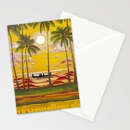 Surf Hawaii, Outrigger, Fly Hawaiian Air Vintage Travel Poster Stationery Cards