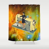 spaceship Shower Curtains featuring Barbara's Spaceship by Eugenia Loli