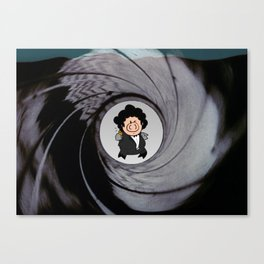The pig with the golden gun Canvas Print