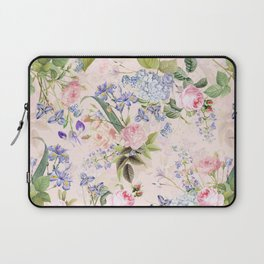 Vintage & Shabby Chic - Pink Redouté Roses Bouquets Pattern Laptop Sleeve