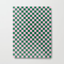 Cotton Candy Pink and Cadmium Green Checkerboard Metal Print