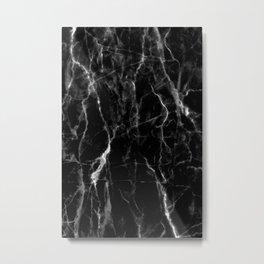 Black marble texture Metal Print