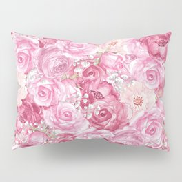 Hand painted white blush pink  coral floral Pillow Sham