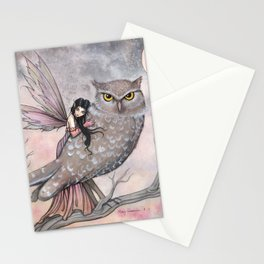 Friendship Fairy and Owl Autumn Fantasy Art by Molly Harrison Stationery Cards