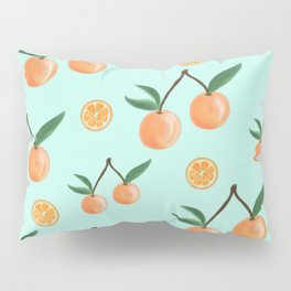 Fruity Oranges Pattern in Mint Green Pillow Sham