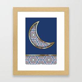 Patterned crescent on dark blue Framed Art Print