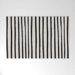 Vertical Black and White Watercolor Stripes Welcome Mat