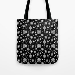 Festive Black and White Snowflake Pattern Tote Bag