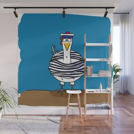 Eglantine la poule (the hen) dressed up as a seaman Wall Mural