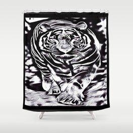 Big Cat Models: White Tiger Emboss 01-02 Shower Curtain