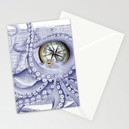 Purple Blue Octopus Compass Nautical Stationery Cards
