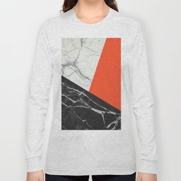 Black and White Marble with Pantone Flame Color Long Sleeve T-shirt