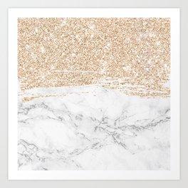 gold glitter sparkle brushstroke white marble Art Print