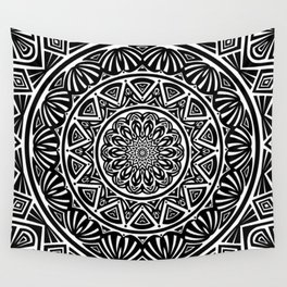 Black and White Simple Simplistic Mandala Design Ethnic Tribal Pattern Wall Tapestry