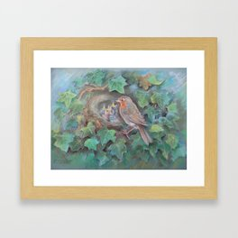 Bird family Robin on the nest Wildlife birds pastel drawing Nature painting Green background Framed Art Print