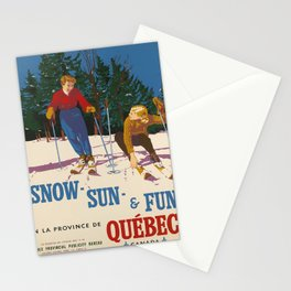 vintage placard Snow Sun Fun Quebec voyage poster Stationery Cards