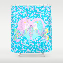 Mermicorn Twins Candy and Bubbles Shower Curtain