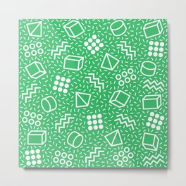 Abstract Memphis Style Pattern Green Metal Print