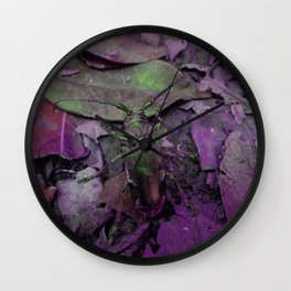 Longhorn Beetle in Pink Wall Clock