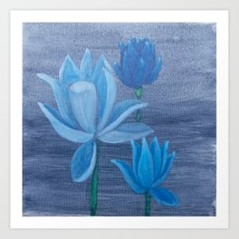 Blue Lotus Flowers Art Print
