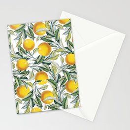 Lemon and Leaf Pattern VI Stationery Cards