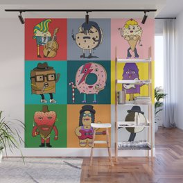 80's Dessert Icons Wall Mural
