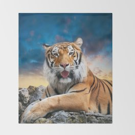 Tiger Sunset Throw Blanket